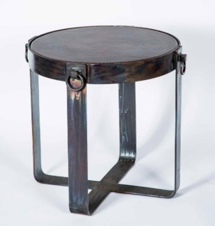 Palmer Side Table Base with Dark Brown Hammered Copper Top
