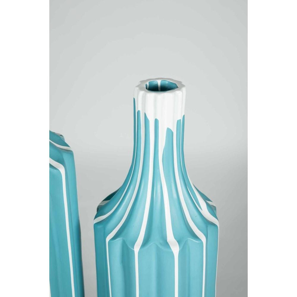 Set of 2 Floor Vases in Teacup Teal