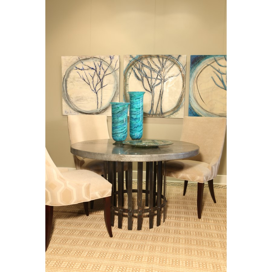 """""""Ashton Dining Table with 48"""""""" Round Hammered Zinc Top"""""""