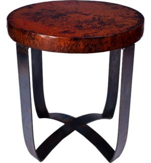 Round Strap End Table with Dark Brown Hammered Copper Top