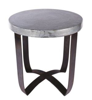 Round Strap End Table with Hammered Zinc Top