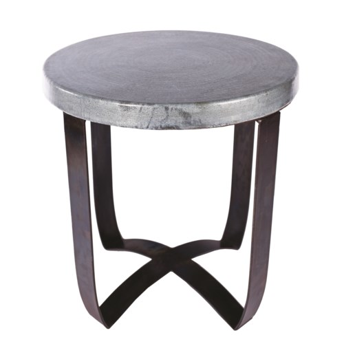 Pleasing Round Strap End Table With Hammered Zinc Top Gamerscity Chair Design For Home Gamerscityorg