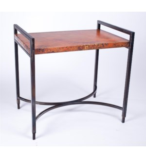 Rectangular Iron Tray Table with Hammered Copper Top