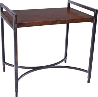 Rectangular Iron Tray Table with Dark Brown Hammered Copper Top