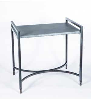 Rectangular Iron Tray Table with Hammered Zinc Top