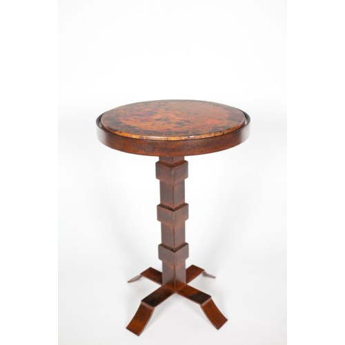 Round Iron Accent Table With Hammered Copper Top