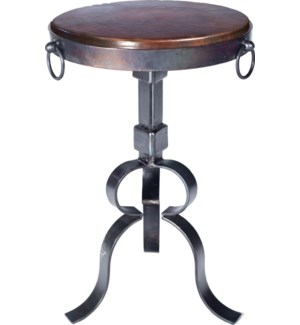 Round Iron Accent Table with Dark Brown Hammered Copper Top