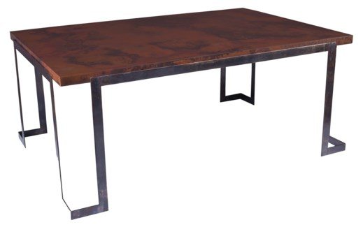 Steel Strap Rectangle Dining Table with Rectangle Dark Brown Hammered Copper Top