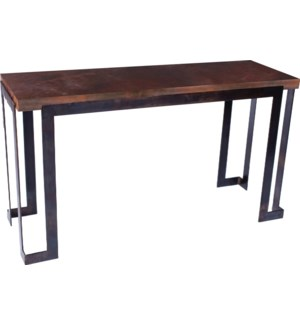 Steel Strap Console Table with Dark Brown Hammered Copper Top