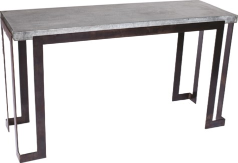 Steel Strap Console Table with Hammered Zinc Top