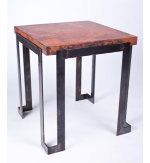 Steel Strap End Table with Hammered Copper Top