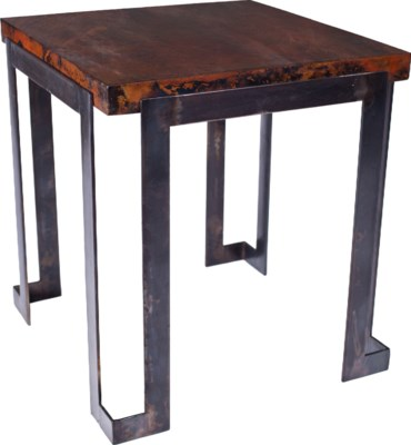 Steel Strap End Table with Dark Brown Hammered Copper Top