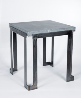 Steel Strap End Table with Hammered Zinc Top