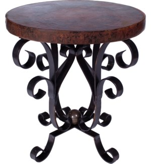 Iron Scroll Accent Table with Dark Brown Hammered Copper Top