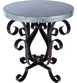 Iron Scroll Accent Table with Hammered Zinc Top