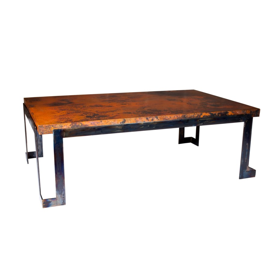 Steel Strap  Cocktail Table with Hammered Copper Top