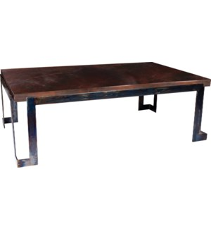Steel Strap  Cocktail Table with Dark Brown Hammered Copper Top