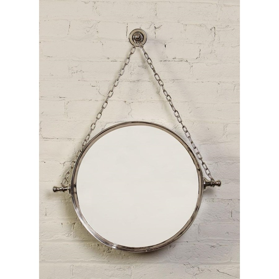 Mirror on Chain in Polished Nickel Finish