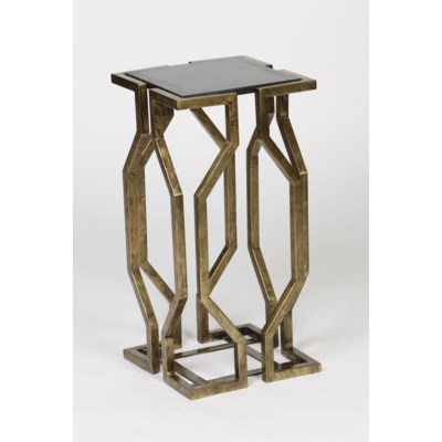 Open Geometric Form Accent Table in Antique Brass Finish with Granite Top