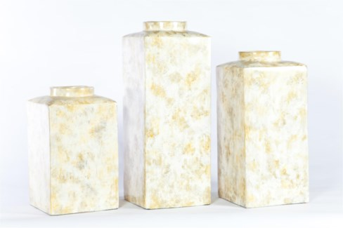 Large Square Canister in Candle Wax Finish