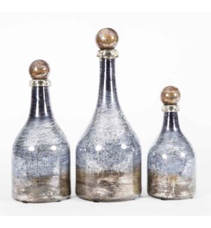Set of 3 Bottles w/Tops in Weathervane Finish