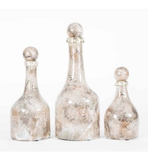 Set of 3 Bottles w/Tops in Portobello Finish