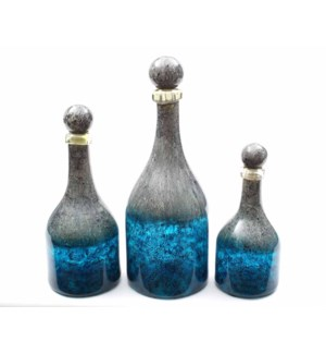 Bottles w/Tops Set of 3 in Calypso Finish