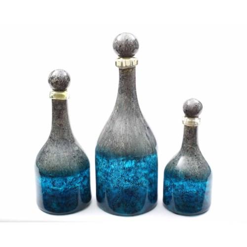 Bottles w/Tops Set of 3 in Calypso Finish