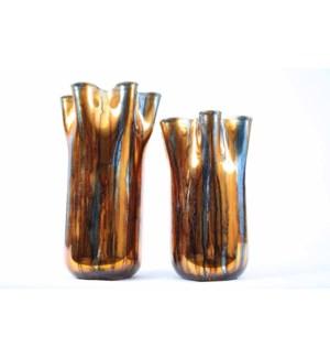 Large Ruffle Vase in Glowing Umber Finish
