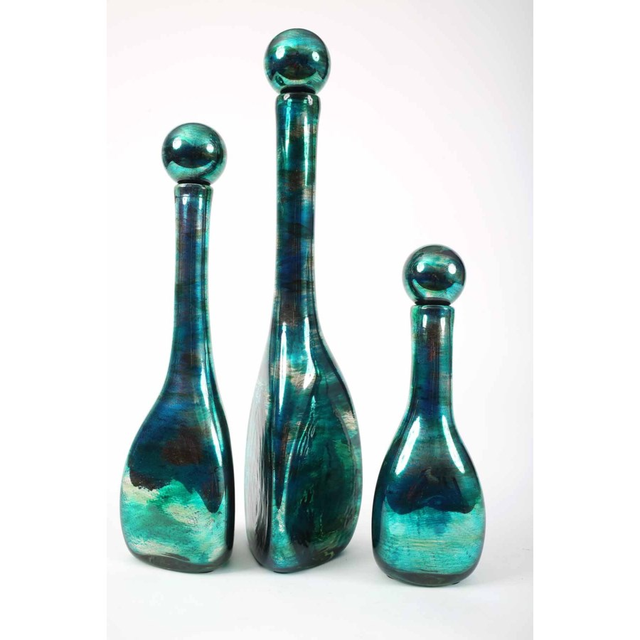3 Triangle Bottles with Tops in Aruba Finish