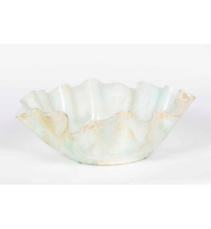 Ruffle Bowl in Almond Cream Finish