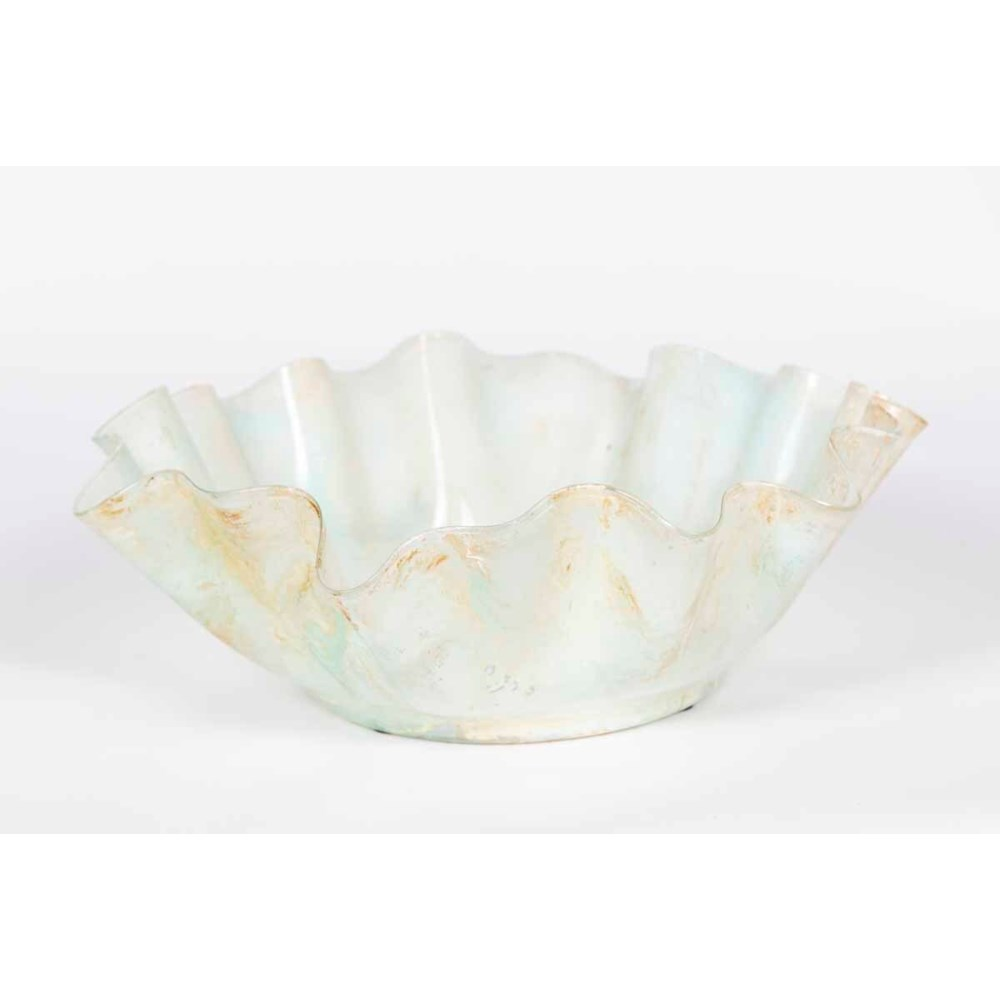 Ruffle Bowl in Almond Cream Finish