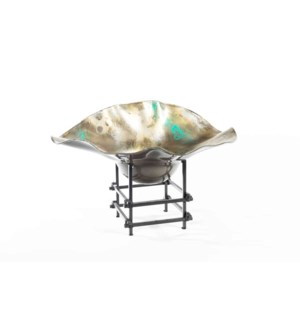 Wave Bowl w/ Iron Stand in Dew Drop Finish