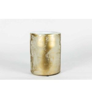 Large Cylinder Vase in Golden Haze Finish