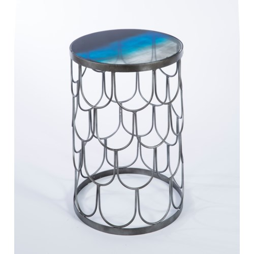 Seaside Accent Table in Antique Silver with Top in Twilight Finish