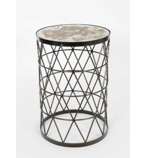Triangles Accent Table in Antique Brass with Glass in Monarch on Mirrored Top