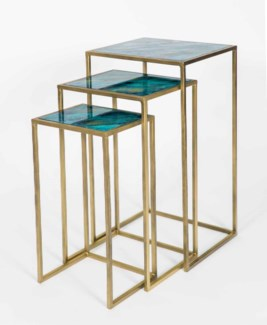 Set of 3 Nesting Tables in Antique Brass w/Glass Top in Abyss Finish