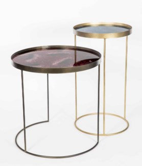 Grace Accent Table in Bronze with Glass Top in Teaberry Finish