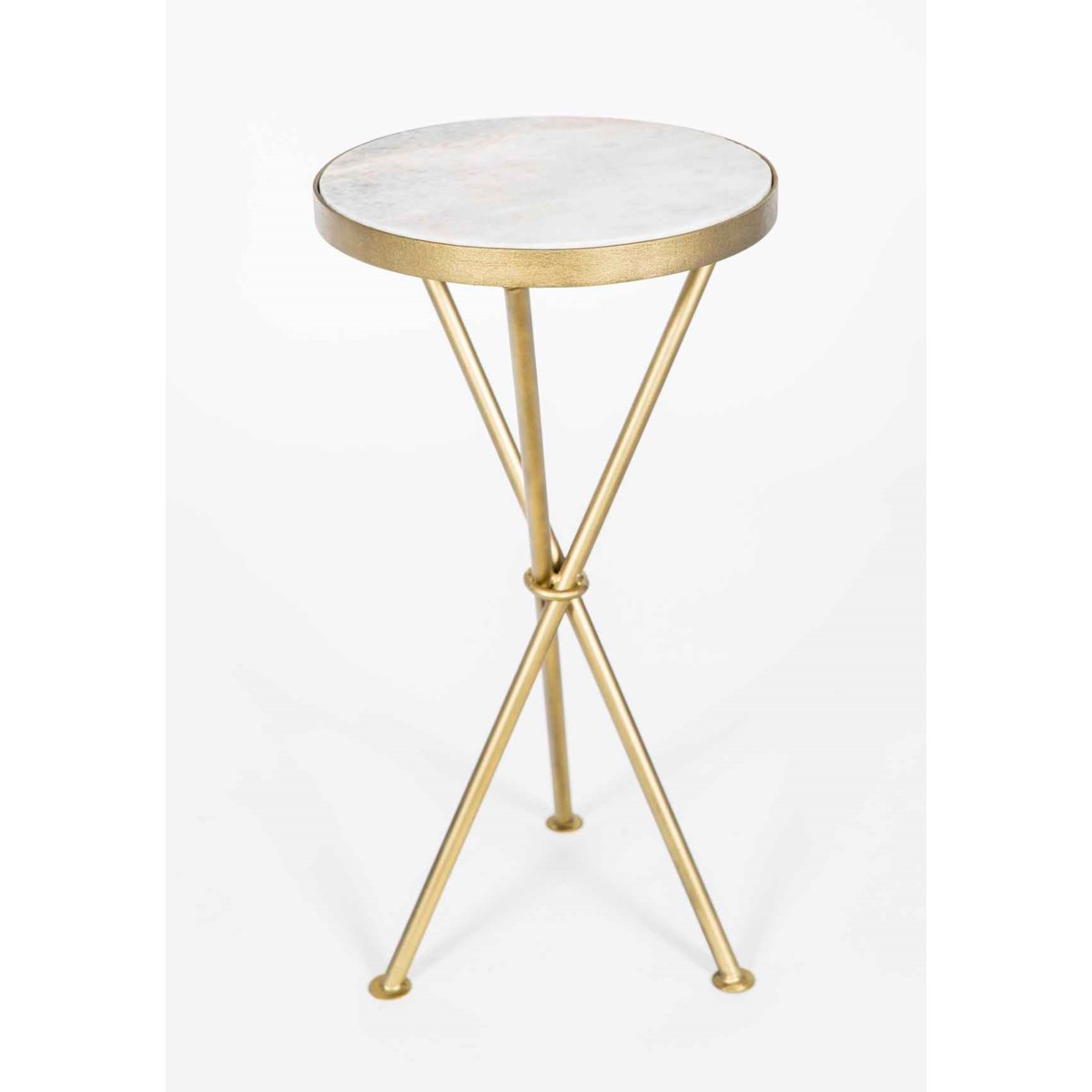 Ella Accent Table in Antique Brass w/White Marble Top