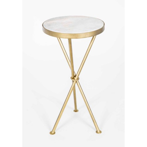 Ella Accent Table In Antique Br W White Marble Top
