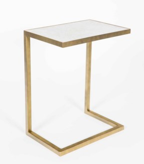 Aria Accent Table in Antique Brass w/White Marble Top