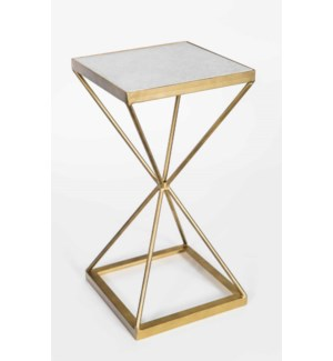 Thomas Accent Table in Antique Brass w/White Marble Top