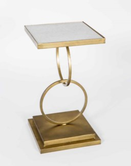 Jackson Accent Table in Antique Brass w/White Marble Top