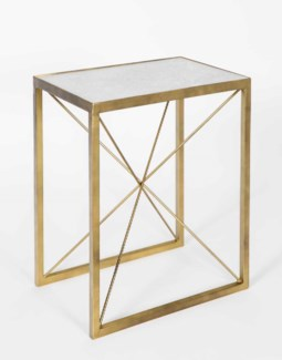 Sebastian Accent Table in Antique Brass w/White Marble Top