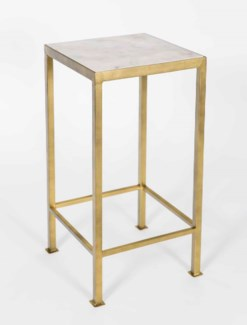 Lewis Accent Table in Antique Brass w/White Marble Top