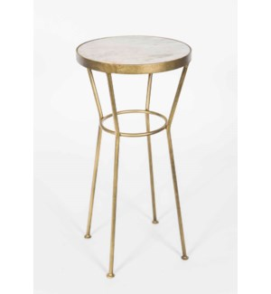 Harvey Accent Table in Antique Brass w/White Marble Top