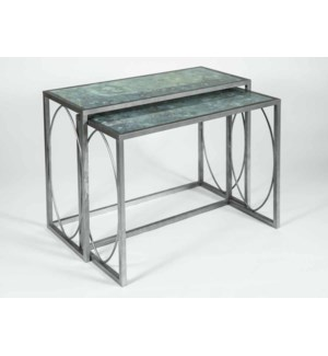 Oliver Nesting Console Tables Set of 2 in Antique Silver w/Glass Top in Ocean Swell Finish