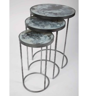 Lily Accent Table in Antique Silver w/Glass Top in Ashland Slate Finish