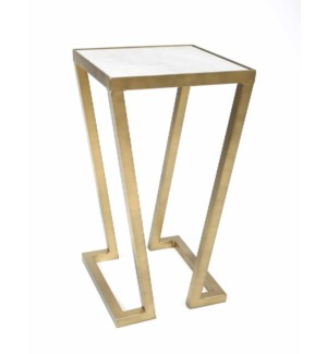 Addison Accent Table in Antique Brass w/White Marble Top