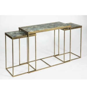 Louis Nesing Console Tables Set of 3 in Antique Brass with Glass Top in Eureka Finish